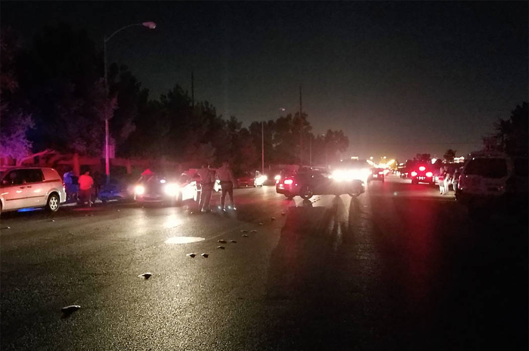 The scene of a fatal crash in the east valley on Saturday night. (Mike Shoro/Las Vegas Review-Journal)