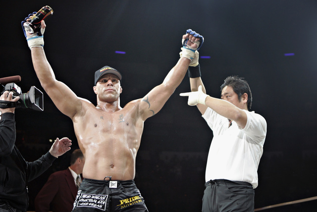 Frank Trigg of the U.S. celebrates his win over Kazuo Misaki of Japan at Pride 33 'The Second Coming' mixed martial arts tournament in Las Vegas on Feb. 24, 2007. (REUTERS/Tiffany Brown)