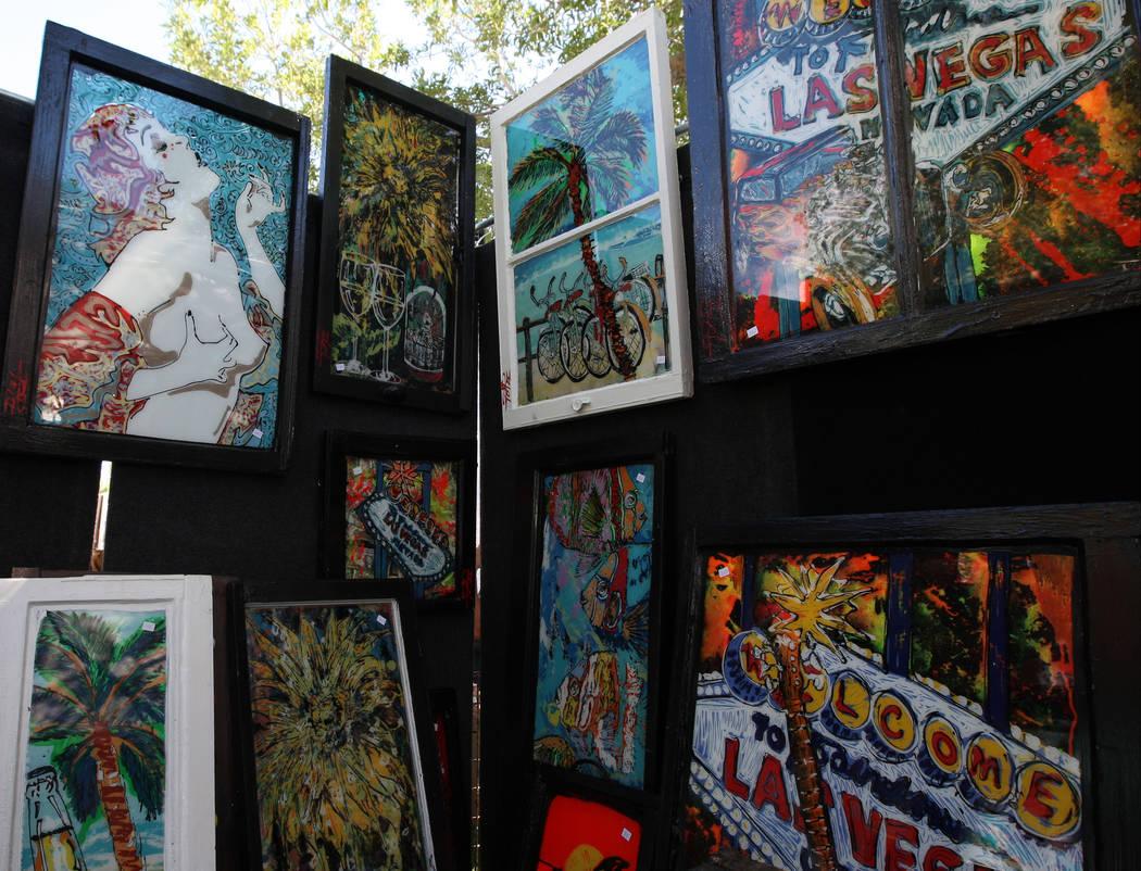 Las Vegas artist Planet Popi displays his work during the Art in the Park festival in Boulder City, Saturday, Oct. 7, 2017. Gabriella Benavidez Las Vegas Review-Journal @latina_ish
