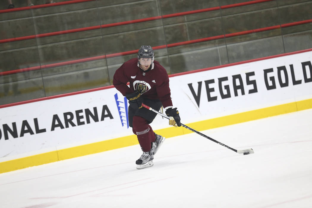 Vegas Golden Knights left wing James Neal (18) takes a slap shot in a drill during the NHL team's practice at the City National Arena in Las Vegas, Wednesday, Oct. 4, 2017. Richard Brian Las Vegas ...
