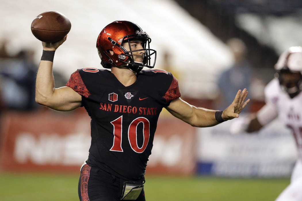 San Diego State quarterback Christian Chapman throws a pass during the second half of an NCAA college football game against Northern Illinois Saturday, Sept. 30, 2017, in San Diego. (AP Photo/Greg ...