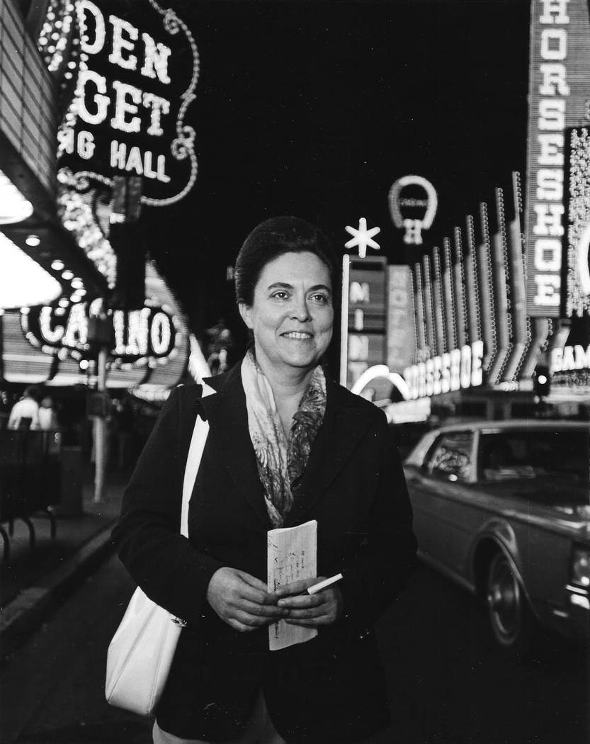 Myram Borders, manager of the Las Vegas bureau of United Press International between 1965 and 1985, is pictured in 1978 on Fremont Street. Borders was the first female wire service manager in the  ...
