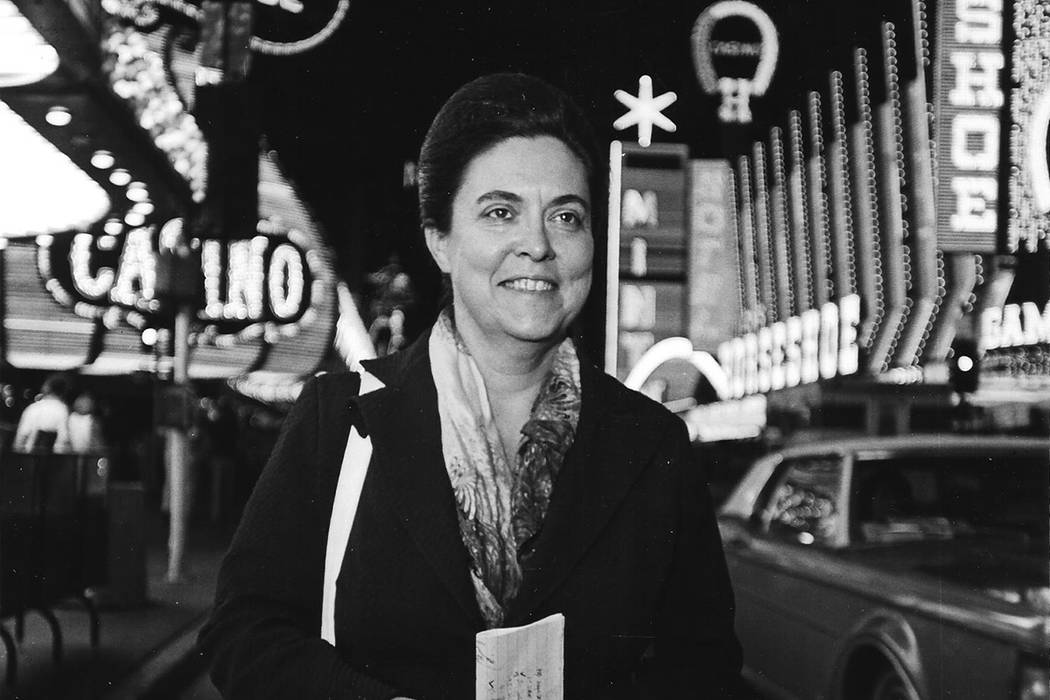 Myram Borders, manager of the Las Vegas bureau of United Press International between 1965 and 1985, is pictured in 1978 on Fremont Street. She was inducted into the Nevada Press Association's Hall ...