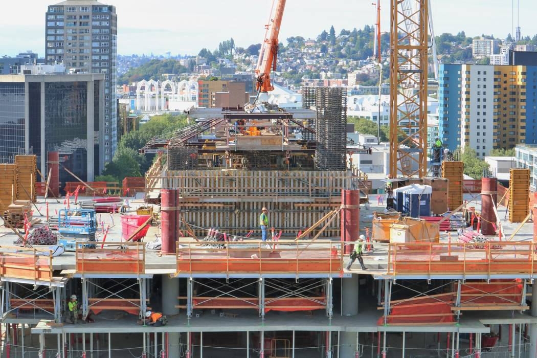 The Arrivé high-rise project under construction in Seattle's Belltown neighborhood is seen from the Warwick hotel on Tuesday, Sept. 12, 2017. (Eli Segall/Las Vegas Review-Journal)