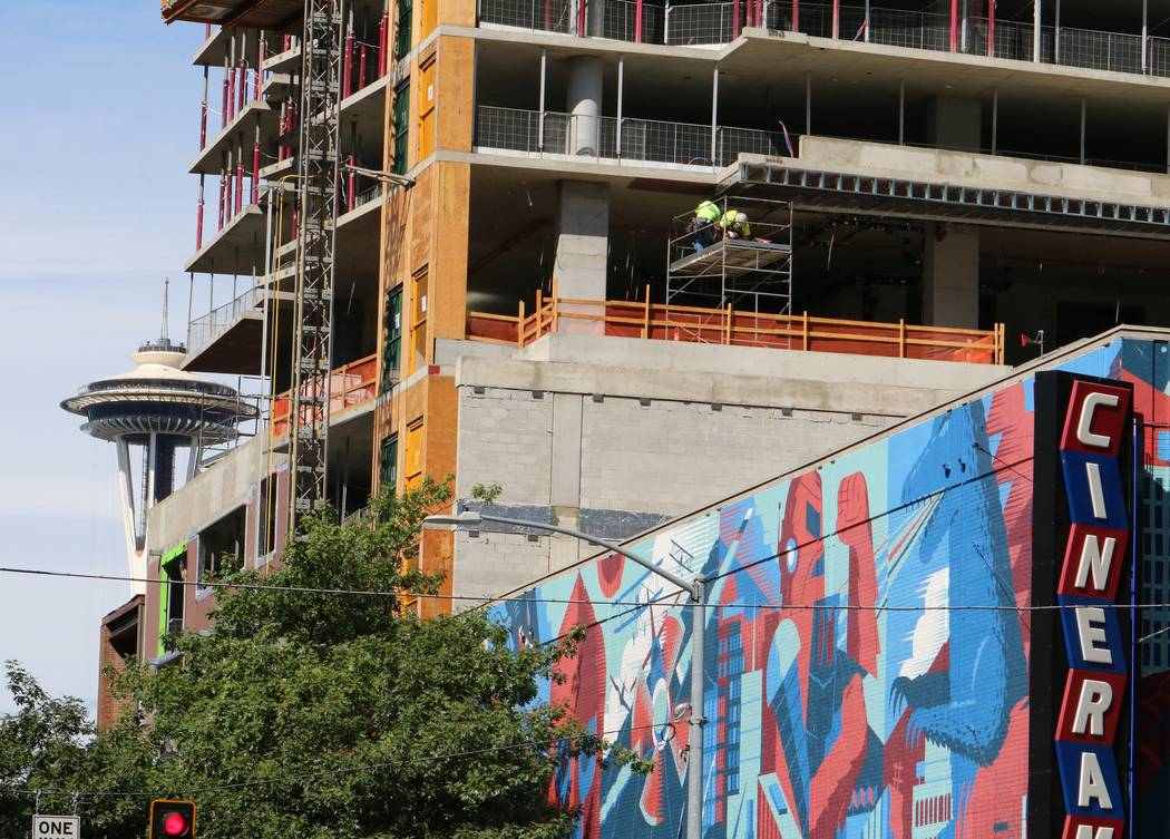 The Arrivé high-rise project under construction in Seattle's Belltown neighborhood is seen Tuesday, Sept. 12, 2017. (Eli Segall/Las Vegas Review-Journal)
