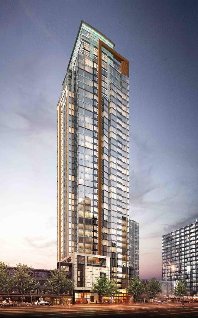 A rendering of the 41-story Arrivé apartment and hotel tower being developed in Seattle's Belltown neighborhood. (The Molasky Group of Cos.)