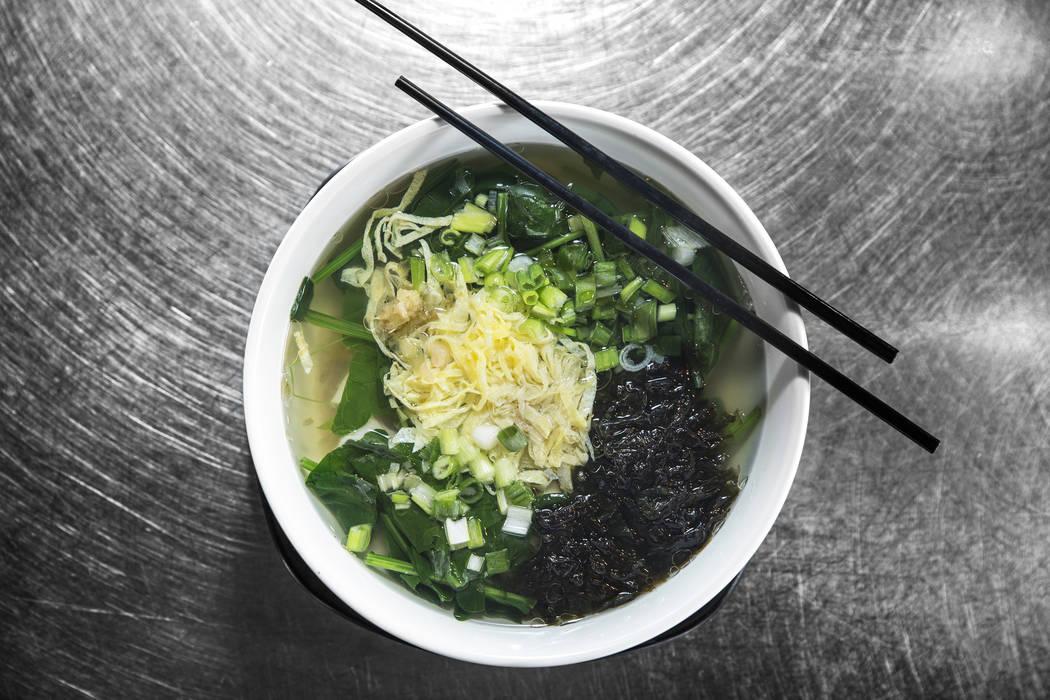 Pork and vegetable wonton soup at Ding's Garden on Tuesday, September 26, 2017, in Las Vegas. Benjamin Hager Las Vegas Review-Journal @benjaminhphoto