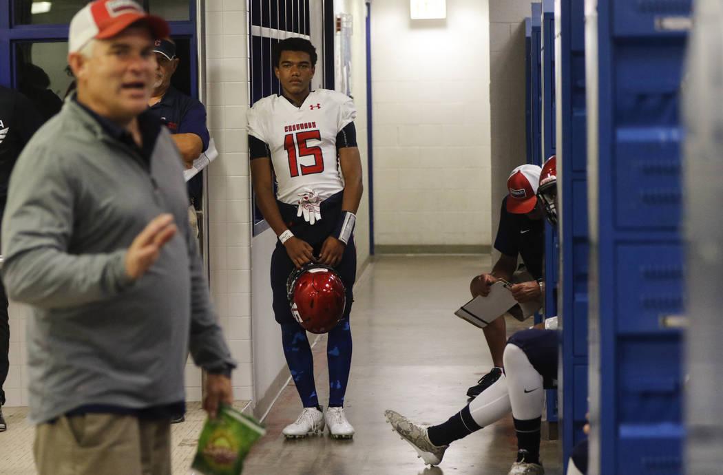 Coronado's Ayzayah Hartfield (15), son of fallen Las Vegas police officer Charleston Hartfield, in the locker room before a football game at Basic High School in Henderson on Friday, Oct. 6, 2017. ...