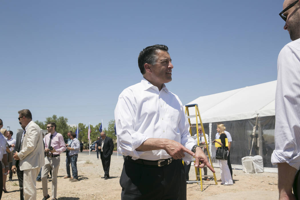 Nevada Gov. Brian Sandoval at the ceremonial groundbreaking of Aristocrat Technologies' new office complex in Summerlin, Friday, June 23, 2017.  (Gabriella Angotti-Jones/Las Vegas Review-Journal)  ...