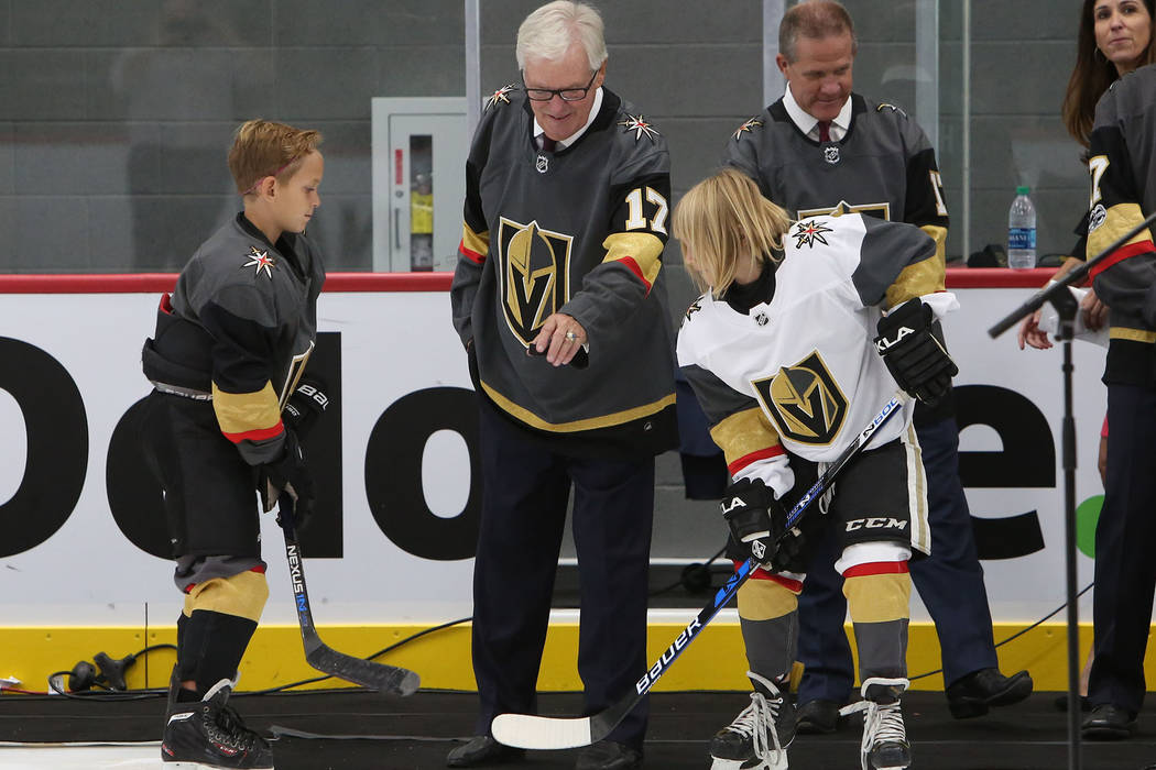 Vegas Golden Knights owner Bill Foley prepares to drop the ceremonial puck during the grand opening ceremony of City National Arena on Monday, Sept. 18, 2017, in Las Vegas. Bizuayehu Tesfaye Las V ...