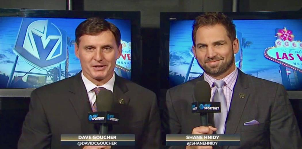 Dave Goucher and Shane Hnidy during their first preseason Golden Knights telecast together. (Twitter @ShaneHnidy)