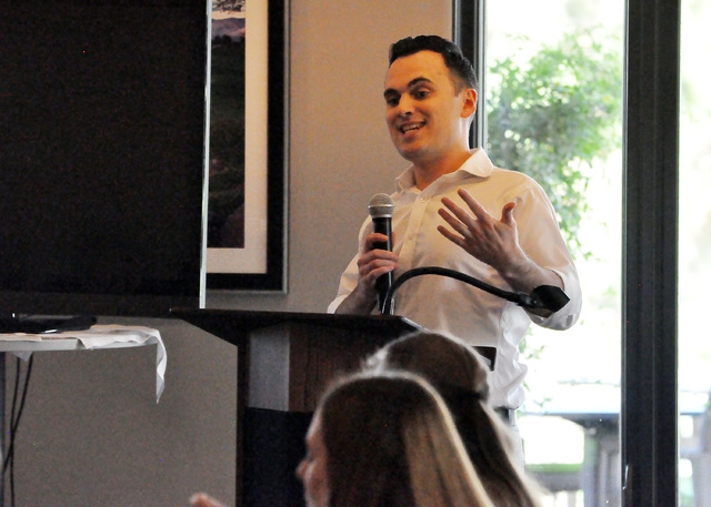 Robert Fellner, transparency researcher at Nevada Policy Research Institute, speaks at Americans for Prosperity luncheon in Pahrump. (Horace Langford Jr./Pahrump Valley Times)
