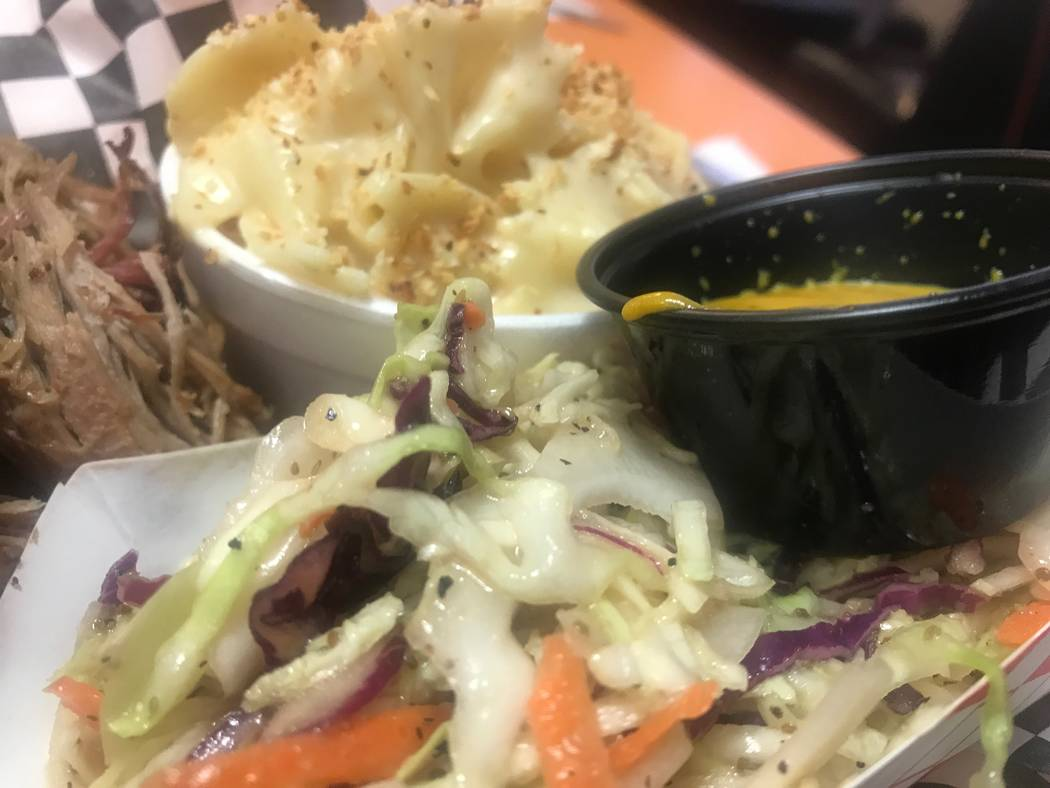Homemade coleslaw and mac and cheese is served on Sept. 22, 2017 at SNS Barbeque, 1100 E. Colton Ave. (Kailyn Brown/View) @KailynHype