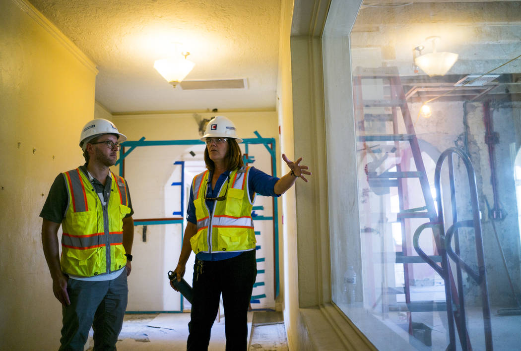 Architect Chris Vandall, left, and General Manager Dominie Lenz talk about the Inn at Death Valley on Thursday, Sept. 28, 2017. Originally called the Furnace Creek Ranch, the newly renamed resort  ...