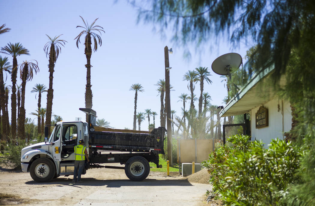 A construction worker near the Furnace Creek Golf Course at the Oasis at Death Valley on Thursday, Sept. 28, 2017. Originally called the Furnace Creek Ranch, the newly renamed resort area at the f ...