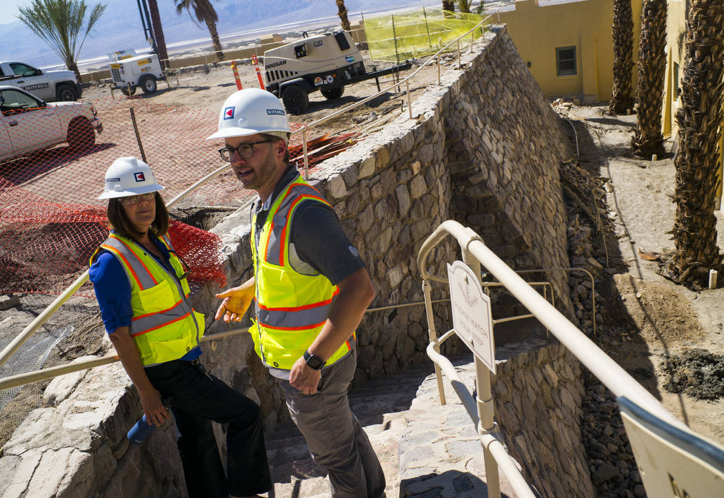 Architect Chris Vandall, right, and General Manager Dominie Lenz talk about the Inn at Death Valley on Thursday, Sept. 28, 2017. Originally called the Furnace Creek Ranch, the newly renamed resort ...