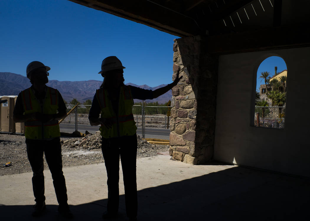 Architect Chris Vandall, left, and General Manager Dominie Lenz near the Mission Gardens area, slated to be used for events, across from the Inn at Death Valley on Thursday, Sept. 28, 2017. Origin ...