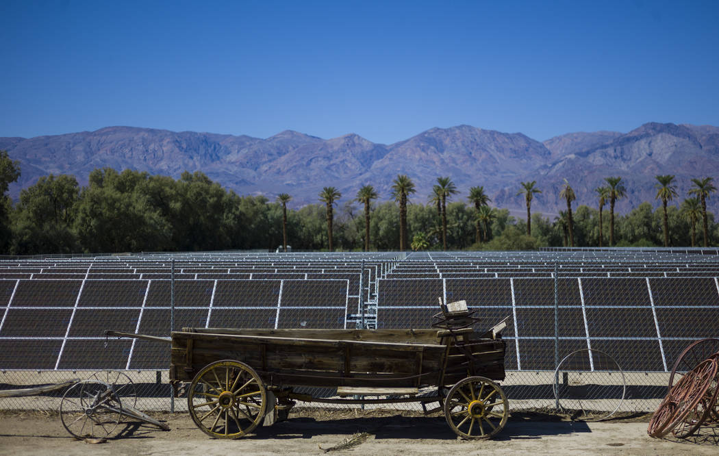 Solar panels at the Oasis at Death Valley on Thursday, Sept. 28, 2017. Originally called the Furnace Creek Ranch, the newly renamed resort area at the famed national park is undergoing a multimill ...