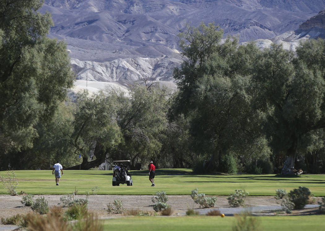Golfers at play at the Furnace Creek Golf Course at the Oasis at Death Valley on Thursday, Sept. 28, 2017. Originally called the Furnace Creek Ranch, the newly renamed resort area at the famed nat ...