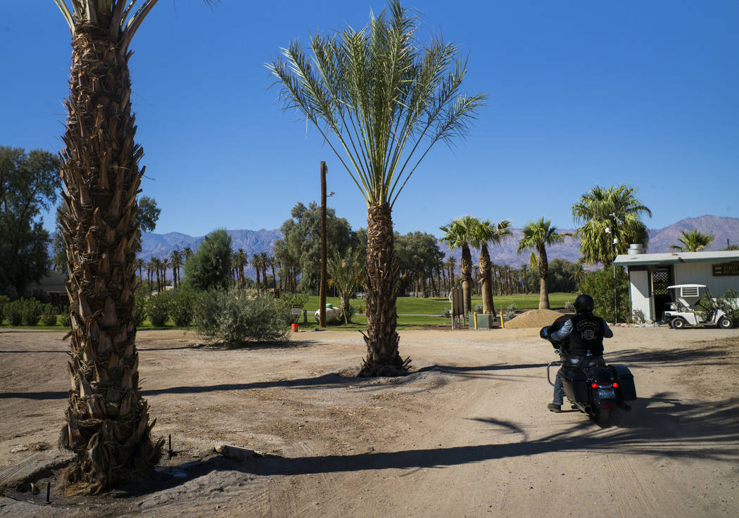 A visitor on motorcycle at the Oasis at Death Valley on Thursday, Sept. 28, 2017. Originally called the Furnace Creek Ranch, the newly renamed resort area at the famed national park is undergoing  ...