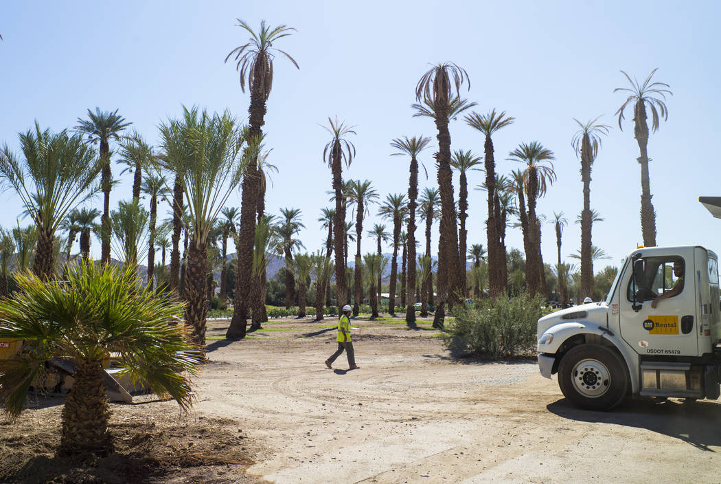 Construction workers near the Furnace Creek Golf Course at the Oasis at Death Valley on Thursday, Sept. 28, 2017. Originally called the Furnace Creek Ranch, the newly renamed resort area at the fa ...