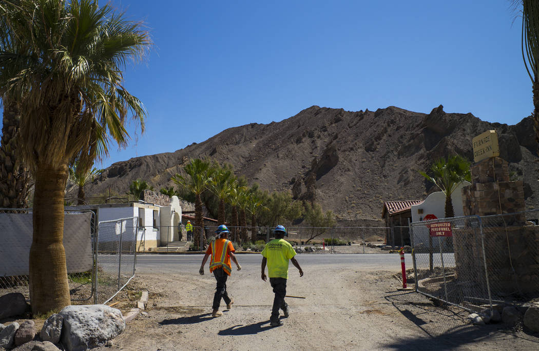 Construction workers near the Inn at Death Valley on Thursday, Sept. 28, 2017. Originally called the Furnace Creek Ranch, the newly renamed resort area at the famed national park is undergoing a m ...