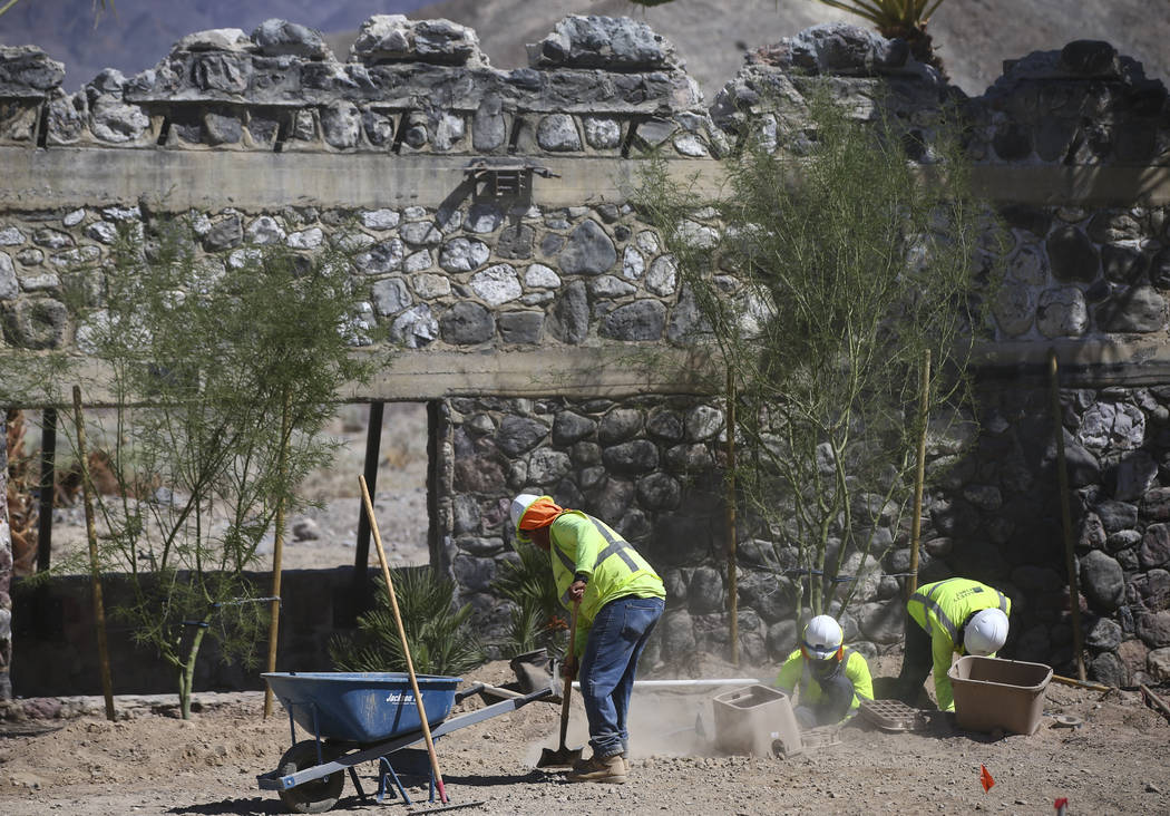 The Mission Gardens area, slated to be used for events, under construction across from the Inn at Death Valley on Thursday, Sept. 28, 2017. Originally called the Furnace Creek Ranch, the newly ren ...