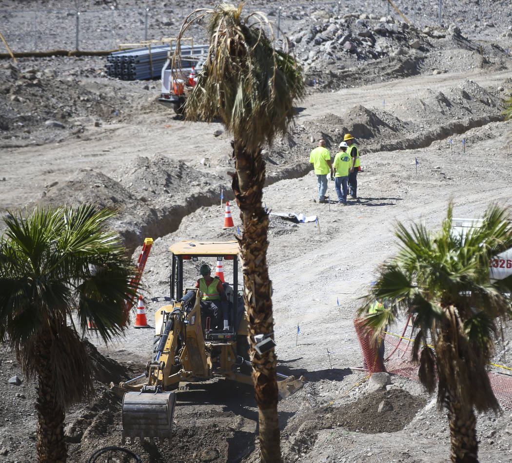 Construction goes on around the Inn at Death Valley on Thursday, Sept. 28, 2017. Originally called the Furnace Creek Ranch, the newly renamed resort area at the famed national park is undergoing a ...