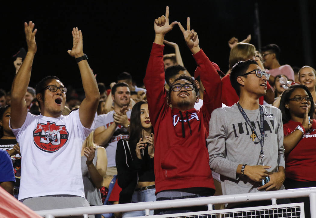UNLV fans cheer during a football game against San Diego State at Sam Boyd Stadium in Las Vegas on Saturday, Oct. 7, 2017. Chase Stevens Las Vegas Review-Journal @csstevensphoto