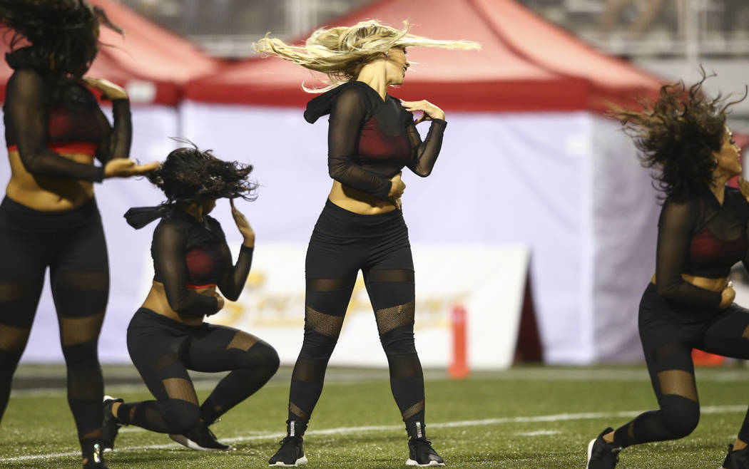 UNLV Rebel Girls perform during a football game against San Diego State at Sam Boyd Stadium in Las Vegas on Saturday, Oct. 7, 2017. Chase Stevens Las Vegas Review-Journal @csstevensphoto