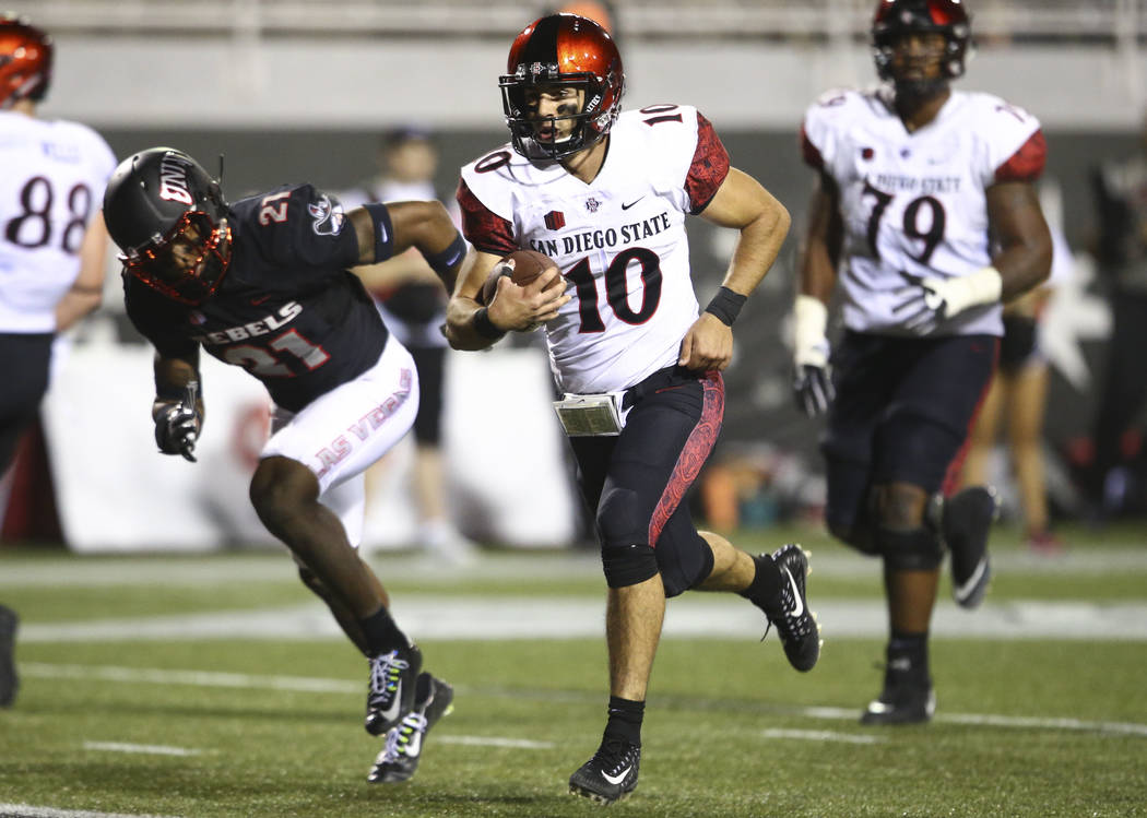 San Diego State's Christian Chapman (10) heads for the end zone to score against UNLV during a football game at Sam Boyd Stadium in Las Vegas on Saturday, Oct. 7, 2017. Chase Stevens Las Vegas Rev ...