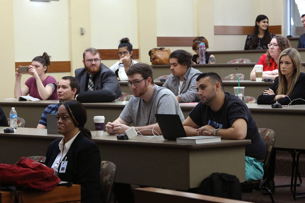 UNLV students watch a Mock Trial competition on Thursday, Sept. 29, 2017 at Thomas and Mack Moot Court in Las Vegas. Bizuayehu Tesfaye Las Vegas Review-Journal @bizutesfaye