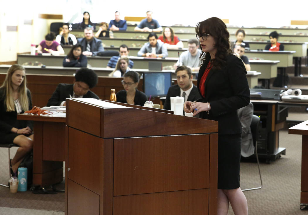 Julia Barker, defense attorney, delivers the opening statement during a Mock Trial competition on Thursday, Sept. 29, 2017 at Thomas and Mack Moot Court in Las Vegas. Bizuayehu Tesfaye Las Vegas R ...