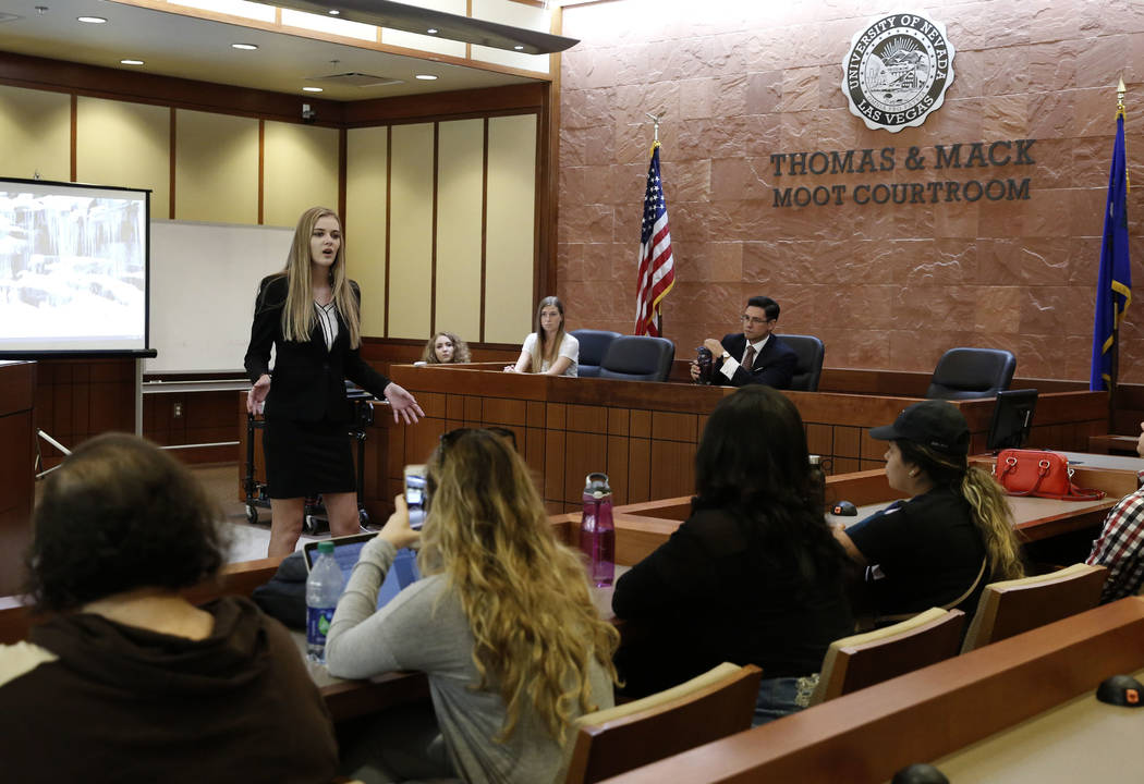 Jamie McInelly, prosecutor, delivers the opening statement during a Mock Trial competition on Thursday, Sept. 29, 2017 at Thomas and Mack Moot Court in Las Vegas. Bizuayehu Tesfaye Las Vegas Revie ...