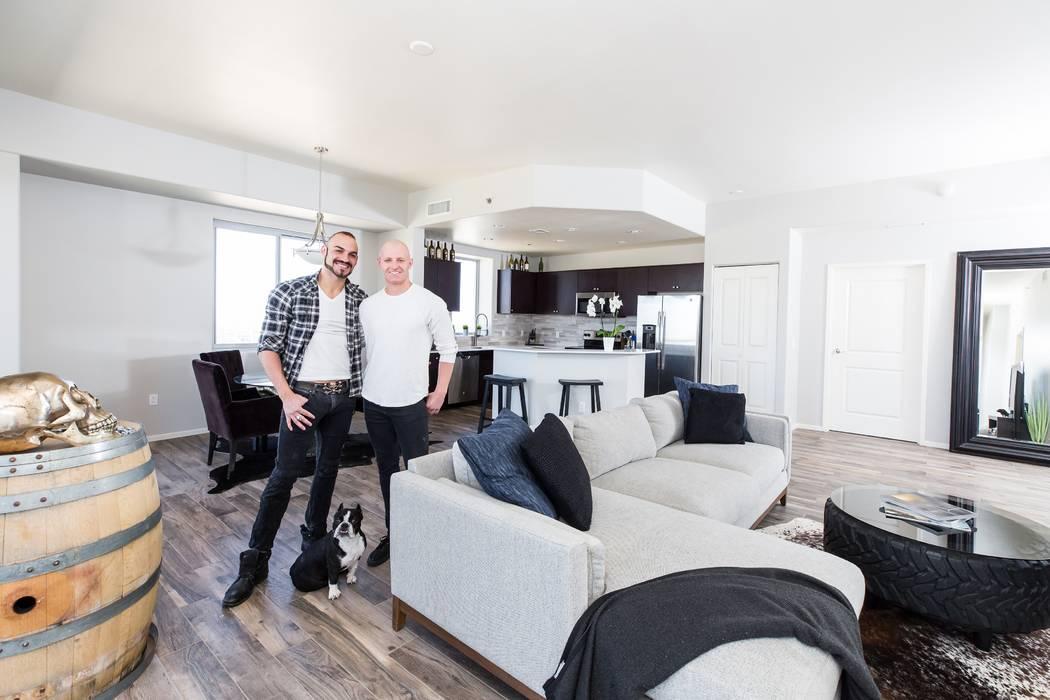 Brandon Pereyda and Wyatt Hopkins moved into a two-bedroom corner residence at One Las Vegas earlier this year. (Mona Shield Payne, One Las Vegas)