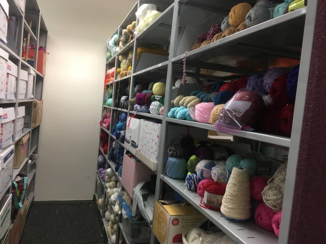 """The library has shelves stocked with yarn donated from the public for its donation drive """"Crafting for a Cause."""" (Diego Mendoza-Moyers/View) @dmendozamoyers"""