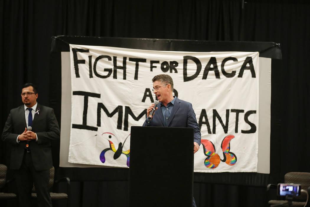 UNLV law professor Michael Kagan speaks during an informative event on DACA at East Las Vegas Community Center on Tuesday, Sept. 5, 2017. Bridget Bennett Las Vegas Review-Journal @bridgetkbennett