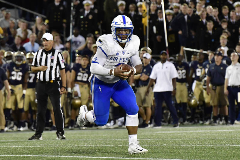Oct 7, 2017; Annapolis, MD, USA; Air Force Falcons quarterback Arion Worthman (2) rushes during the fourth quarter against the Navy Midshipmen at Navy-Marine Corps Memorial Stadium. Navy Midshipme ...