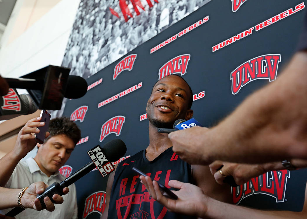 UNLV basketball player Jordan Johnson speaks to reporters prior to their practice at the Mendenhall Center in Las Vegas, Saturday, Sept. 30, 2017. Chitose Suzuki Las Vegas Review-Journal @chitosephoto