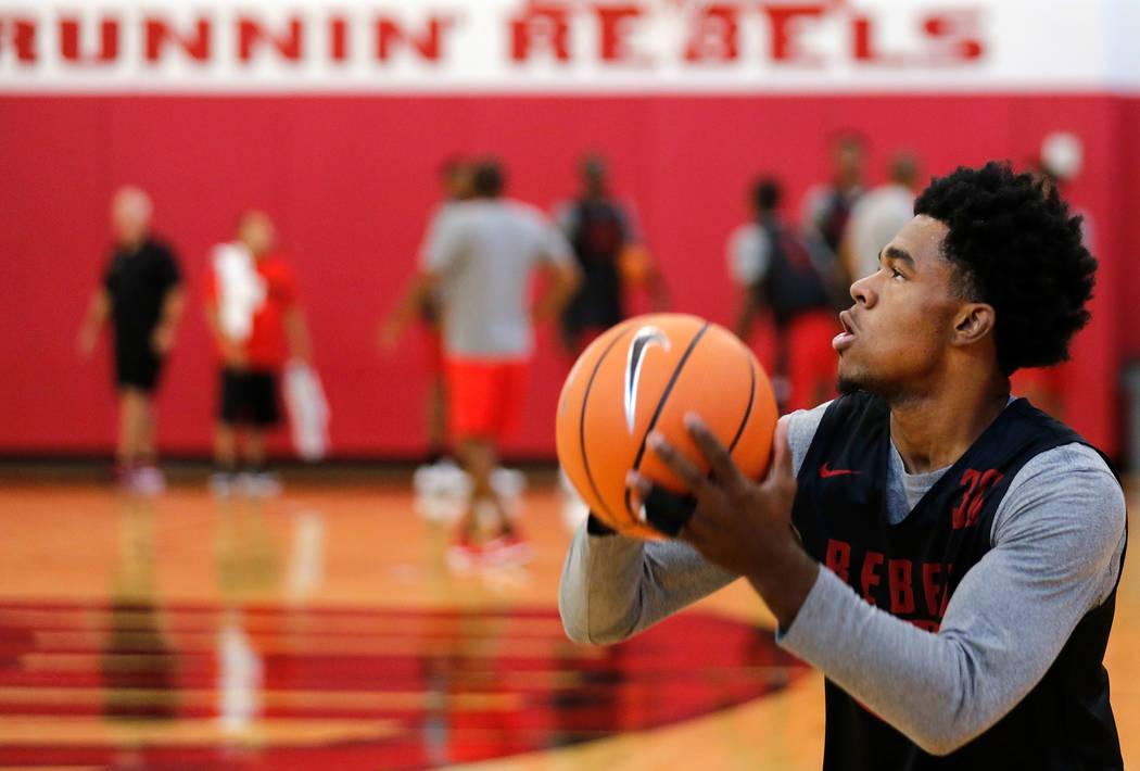 UNLV basketball player Jovan Mooring during their practice at the Mendenhall Center in Las Vegas, Saturday, Sept. 30, 2017. Chitose Suzuki Las Vegas Review-Journal @chitosephoto