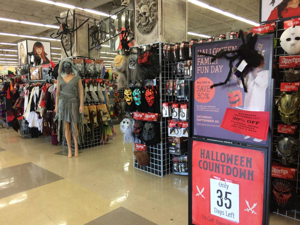 The Savers on Lake Mead Boulevard, seen Sept. 26, 2017, begins gearing up for Halloween at the end of August. The last two weeks of September see an uptick in efforts. The store hosts a runway fas ...
