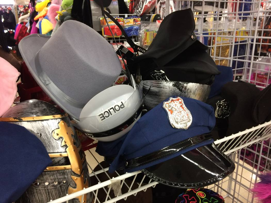 Profession specific hats at the Savers on Lake Mead Boulevard, are seen on display Sept. 26, 2017. The last two weeks of September see an uptick in efforts. The store hosts a runway fashion show e ...