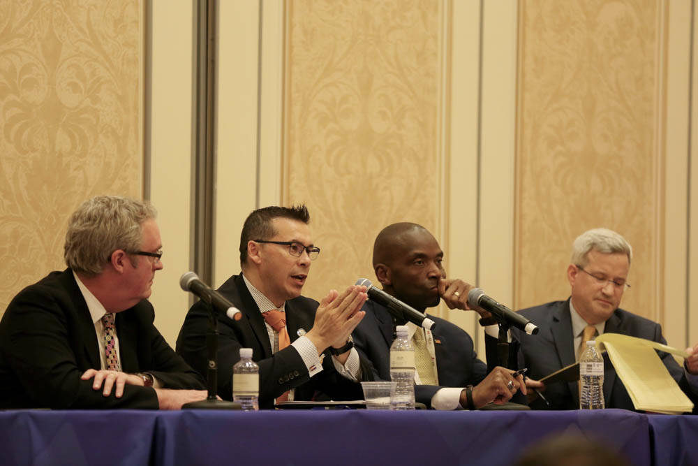 From left, Sean McGuiness with Lewis Roca Rothgerber Christie, chief compliance officer of MGM Resorts International Stephen Martino, Nevada Gaming Control board member Terry Johnson, and moderato ...
