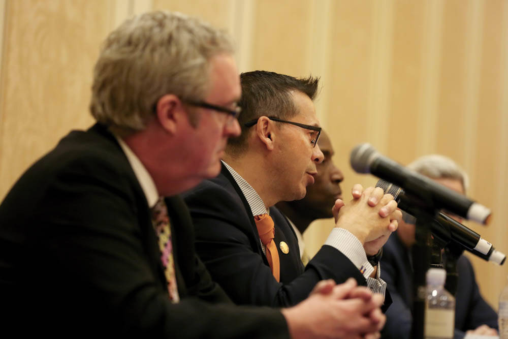 Sean McGuiness with Lewis Roca Rothgerber Christie, left, and chief compliance officer of MGM Resorts International Stephen Martino, center, joing Nevada Gaming Control board member Terry Johnson, ...