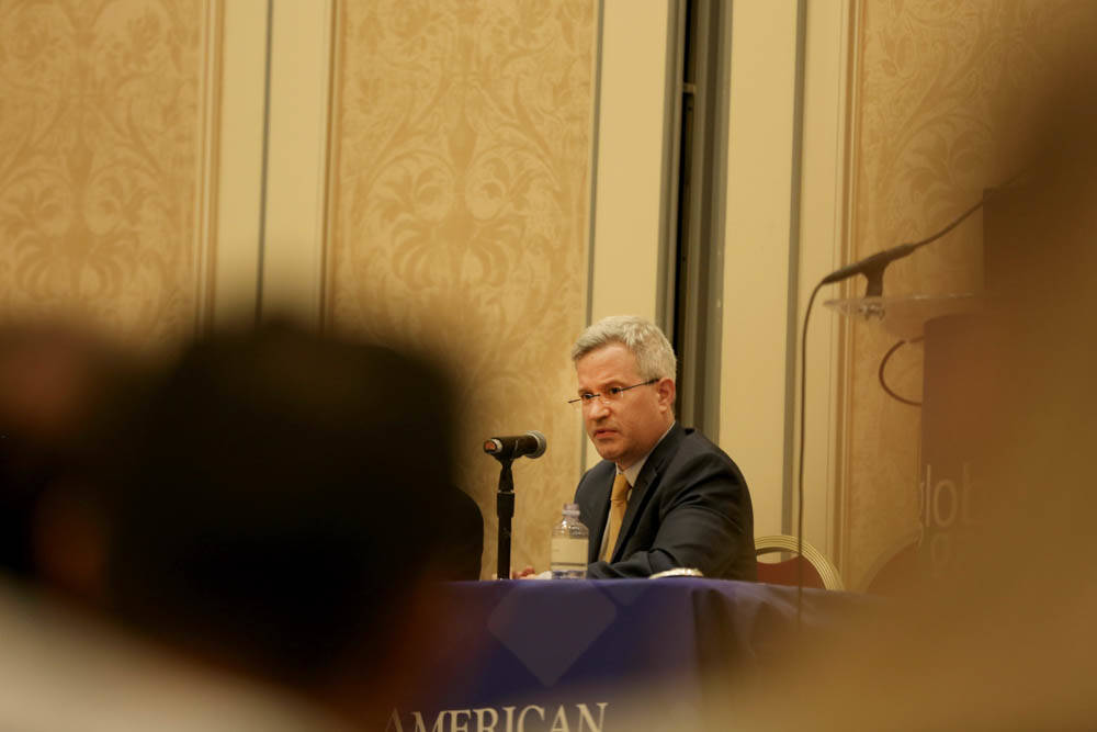 Moderator Bill Bogot with Fox Rothschild, discusses the use of marijuana at resort properties during the Global Gaming Expo at Sands Expo, Monday, Oct. 2, 2017. Elizabeth Brumley Las Vegas Review- ...