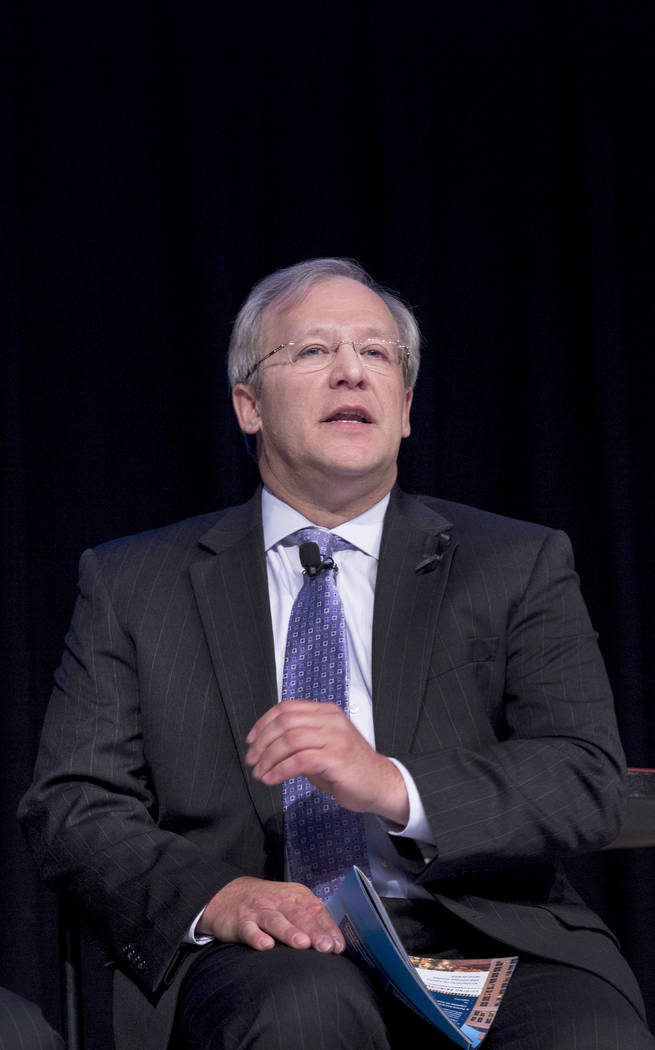 Rivers Casino general manager Craig Clark, partakes in a panel discussion featuring gaming leaders at the Special Events Stage at the Global Gaming Expo, Tuesday, Oct. 3, 2017. Elizabeth Brumley L ...