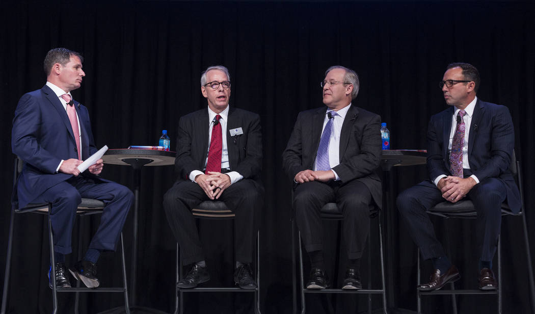 President and CEO of the American Gaming Association Geoff Freeman leads a panel discussion with gaming leaders from left, Everi president Michael D. Rumbolz, Rivers Casino general manager Craig C ...