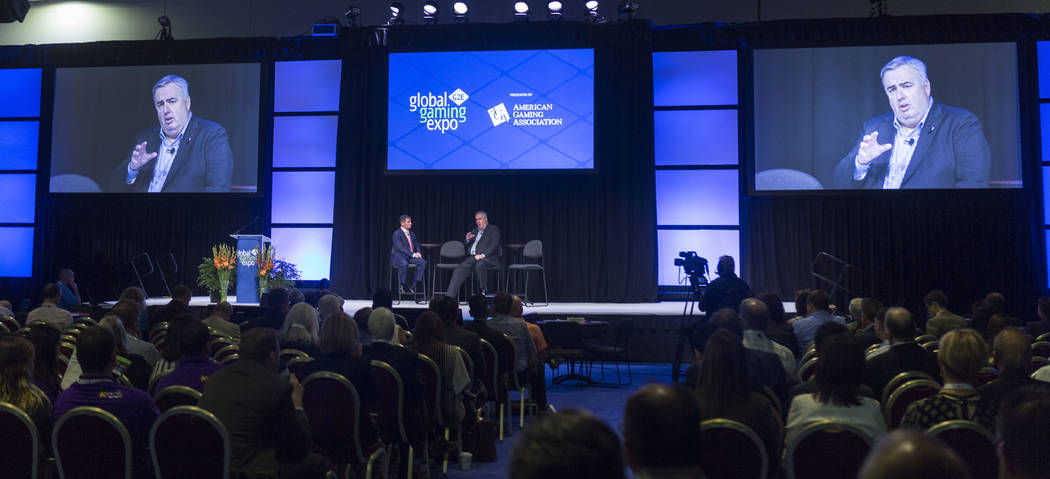 President and CEO of the American Gaming Association Geoff, left, and former Boston Police Commissioner Ed Davis gives the state of the industry address at the Special Events Stage at the Global G ...