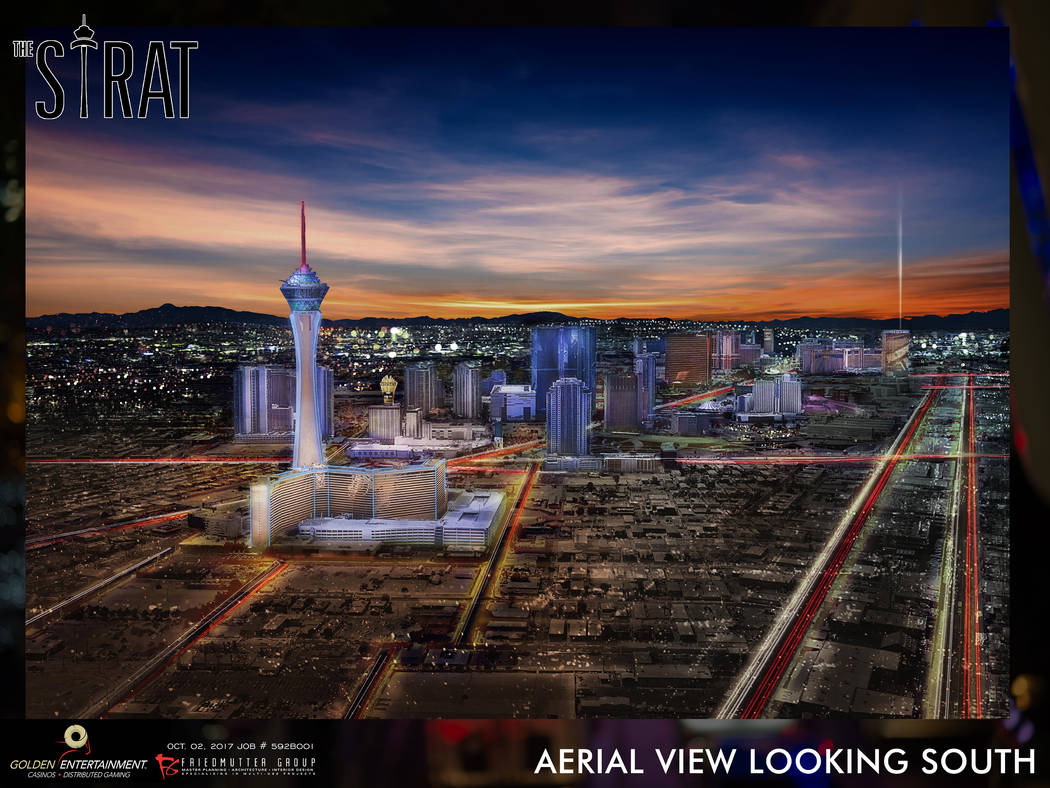 A renderings show some of the exterior enhancements of the Stratosphere as envisioned by Golden Entertainment, which is acquiring American Casino and Entertainment Properties for $850 million. The ...