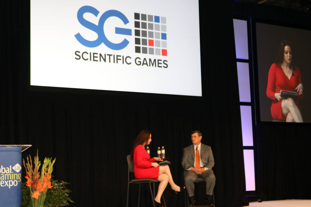 Business-television personality Carol Roth (left) interviews Dave & Buster's CEO Stephen King Wednesday, Oct. 4, 2017, at G2E at the Sands Expo and Convention Center in Las Vegas. (Nicole Raz/ ...